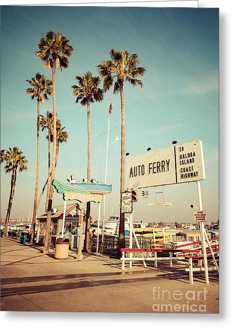 Orange County Greeting Cards - Balboa Island Ferry Nostalgic Vintage Picture Greeting Card by Paul Velgos