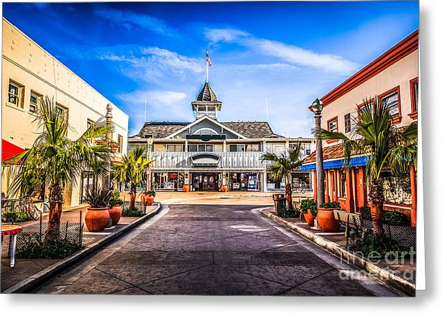 Main Street Greeting Cards - Balboa Main Street in Newport Beach Picture Greeting Card by Paul Velgos
