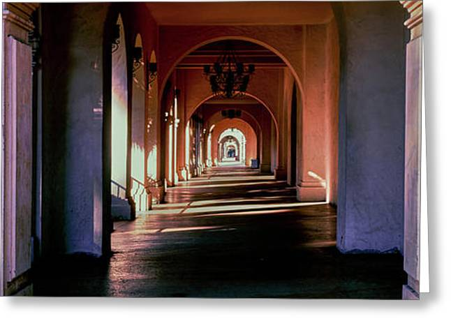 Balboa Park Arched Hallway, San Diego Greeting Card by Panoramic Images