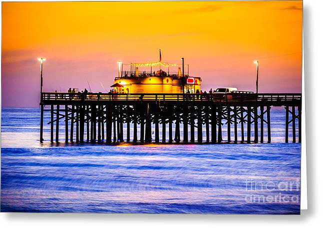Southern California Sunset Beach Greeting Cards - Balboa Pier at Sunset Picture Greeting Card by Paul Velgos