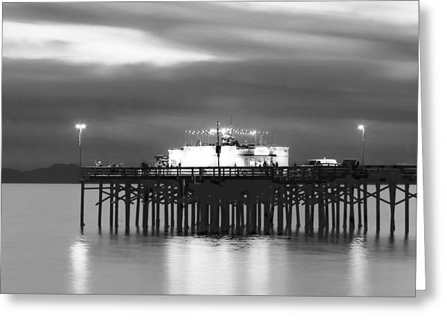 California Ocean Photography Greeting Cards - Balboa Pier Night Glow Blk Wht Greeting Card by Chris Brannen