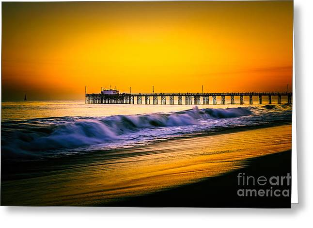 Southern California Sunset Beach Greeting Cards - Balboa Pier Picture at Sunset in Orange County California Greeting Card by Paul Velgos