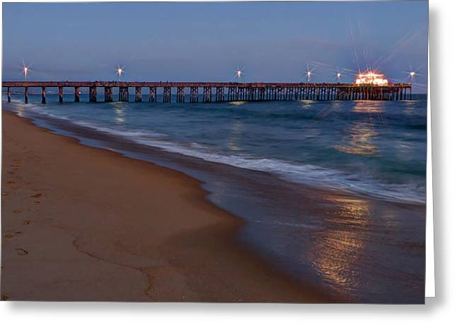Ocean Art Photography Greeting Cards - Balboa Pier Sunset Greeting Card by Heidi Smith