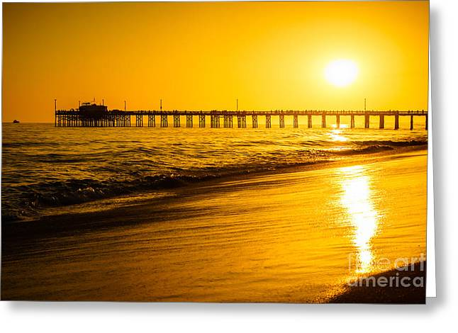 Seascape Photography Greeting Cards - Balboa Pier Sunset in Orange County California Picture Greeting Card by Paul Velgos