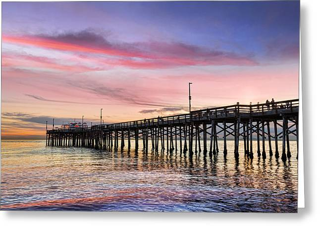 Pier Pilings Greeting Cards - Balboa Pier Sunset Greeting Card by Kelley King