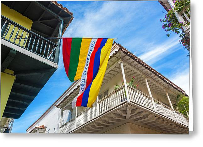 Colonial Flag Greeting Cards - Balconies and Flags Greeting Card by Jess Kraft