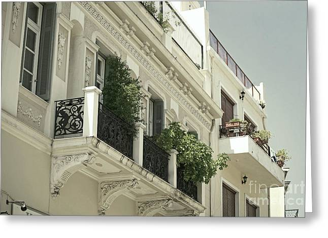Plaka Greeting Cards - Balcony Greeting Card by Aiolos Greek Collections