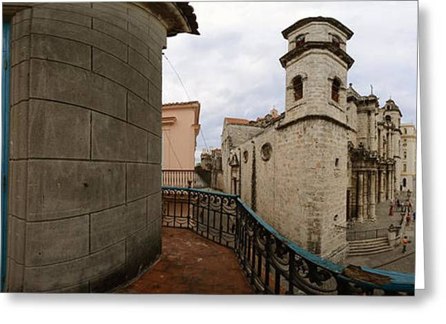 Old Street Greeting Cards - Balcony Along Plaza De La Catedral, Old Greeting Card by Panoramic Images