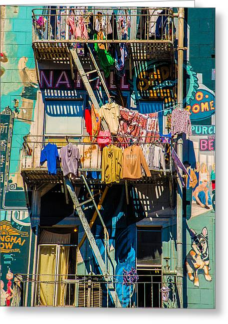 People Greeting Cards - Balcony and Clothesline Greeting Card by Celso Diniz