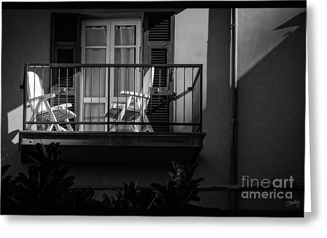 Balcony Bathed In Sunlight Greeting Card by Prints of Italy
