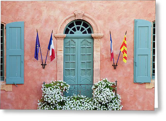 Balcony, Flowers And Flags, Roussillon Greeting Card by Brian Jannsen