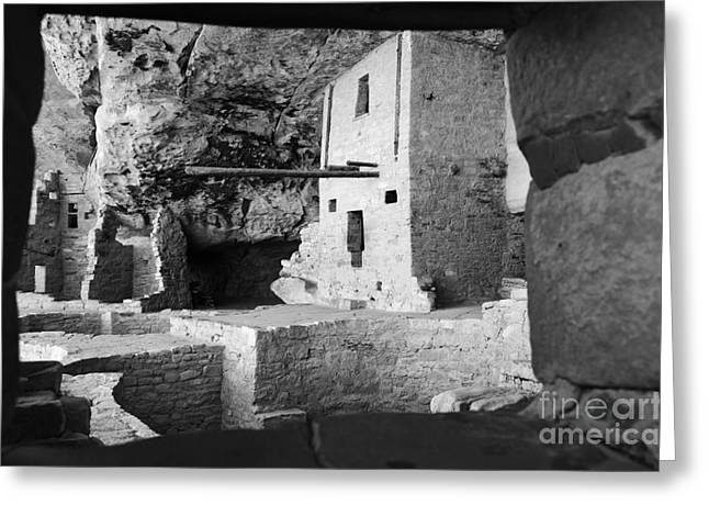 Mesa Verde Greeting Cards - Balcony House Window View at Mesa Verde National Park Anasazi Ruins Black and White Greeting Card by Shawn O