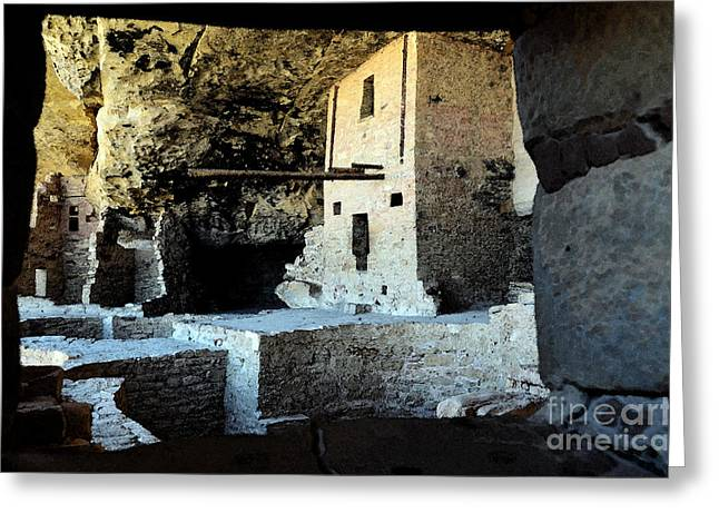 Mesa Verde Greeting Cards - Balcony House Window View at Mesa Verde National Park Anasazi Ruins Water Color Digital Art Greeting Card by Shawn O
