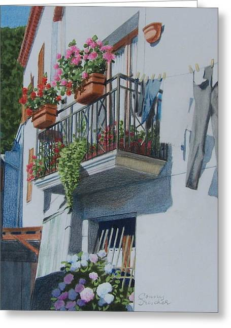 Red Geraniums Mixed Media Greeting Cards - Balcony in Maratea Greeting Card by Constance DRESCHER