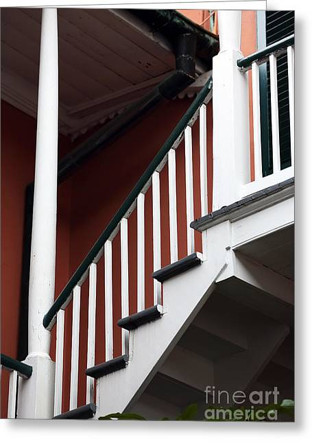 Recently Sold -  - Wooden Stairs Greeting Cards - Balcony Stairs Greeting Card by John Rizzuto