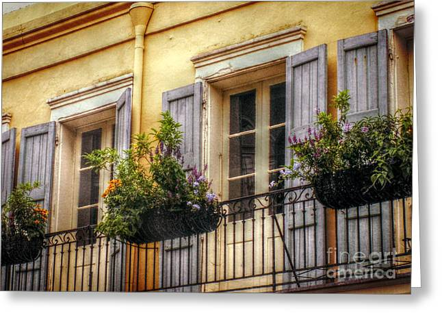 Recently Sold -  - French Doors Greeting Cards - French Quarter Balcony Greeting Card by Valerie Reeves