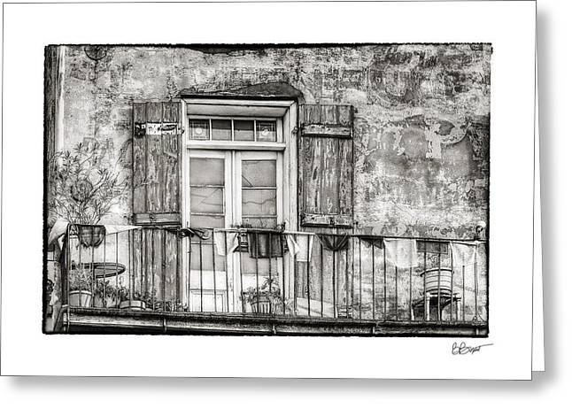 French Quarter Doors Greeting Cards - Balcony View in Black and White Greeting Card by Brenda Bryant