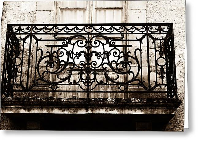 South West France Greeting Cards - Balcony Window in South West France - Toned Greeting Card by Nomad Art And  Design