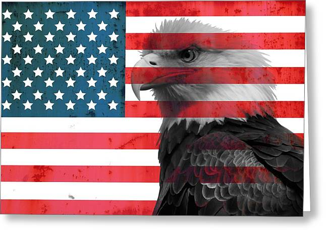 Photography Mixed Media Greeting Cards - Bald Eagle American Flag Greeting Card by Dan Sproul