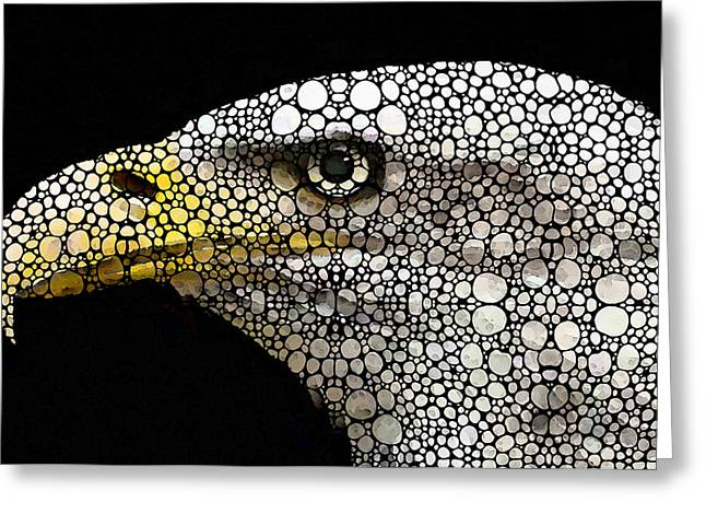 Pebbles Greeting Cards - Bald Eagle Art - Eagle Eye - Stone Rockd Art Greeting Card by Sharon Cummings