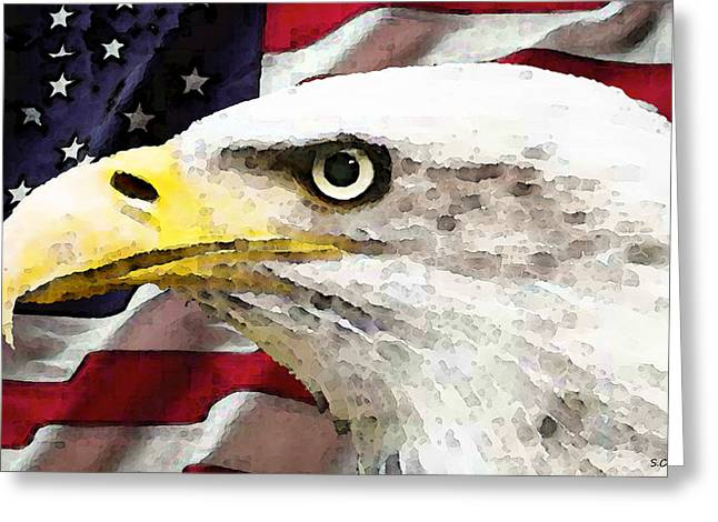 Nations Greeting Cards - Bald Eagle Art - Old Glory - American Flag Greeting Card by Sharon Cummings