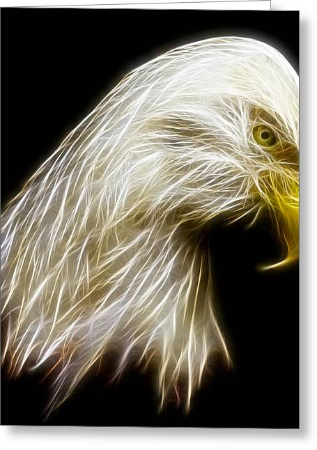 Eagle Feathers Greeting Cards - Bald Eagle Fractal Greeting Card by Adam Romanowicz