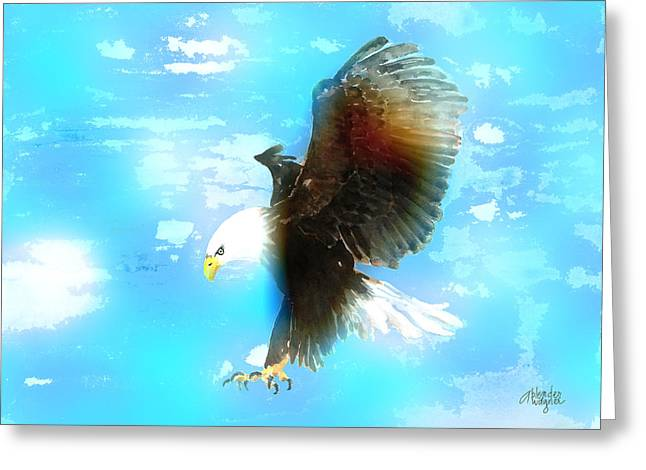 Eagle Mixed Media Greeting Cards - Bald Eagle In Flight Greeting Card by Arline Wagner