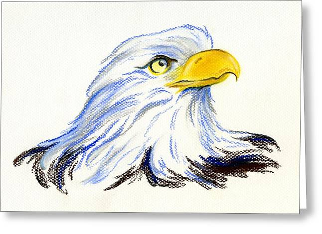 Eagles Pastels Greeting Cards - Bald Eagle Portrait Greeting Card by MM Anderson