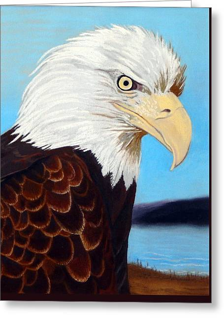 Eagles Pastels Greeting Cards - Bald Eagle					 Greeting Card by Tanya Provines
