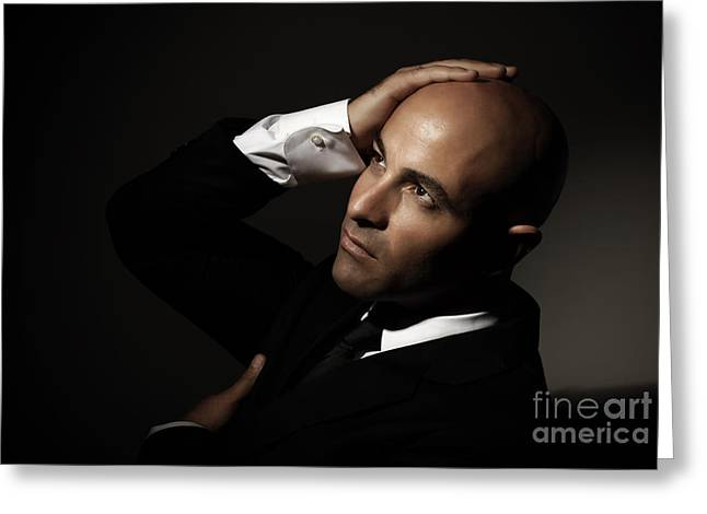 Supermodels Greeting Cards - Bald man wearing black suit Greeting Card by Anna Omelchenko