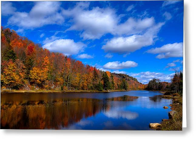 Aderondacks Greeting Cards - Bald Mountain Pond in Autumn Greeting Card by David Patterson