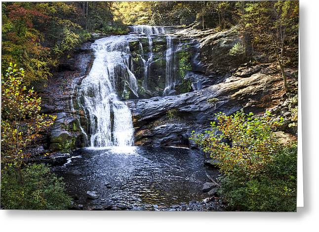 Autumn Leaf On Water Greeting Cards - Bald River Falls Greeting Card by Debra and Dave Vanderlaan