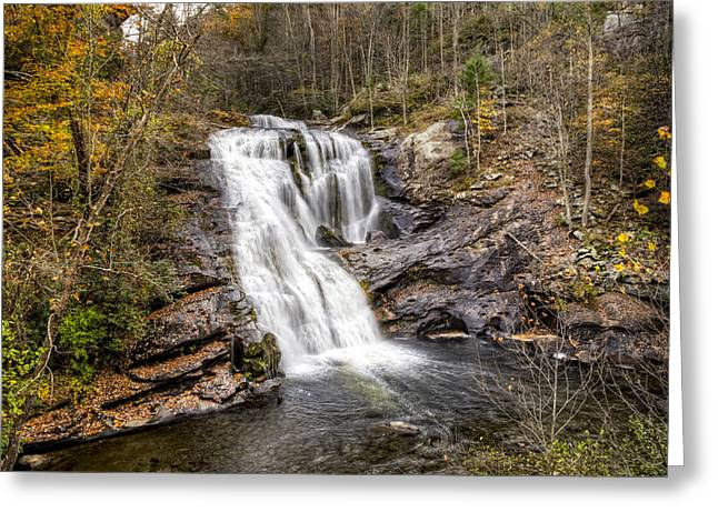 Reflections In River Greeting Cards - Bald River Waterfall Greeting Card by Debra and Dave Vanderlaan