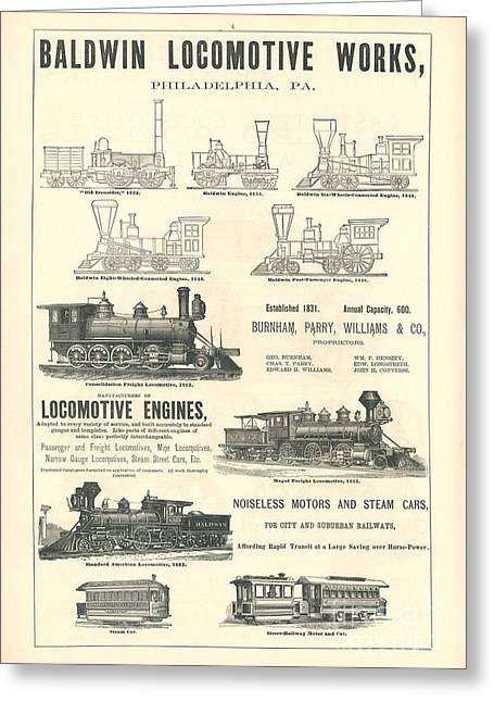 Advertisment Greeting Cards - Baldwin Locomotive Works Railroad Ad   Greeting Card by MMG Archive Prints