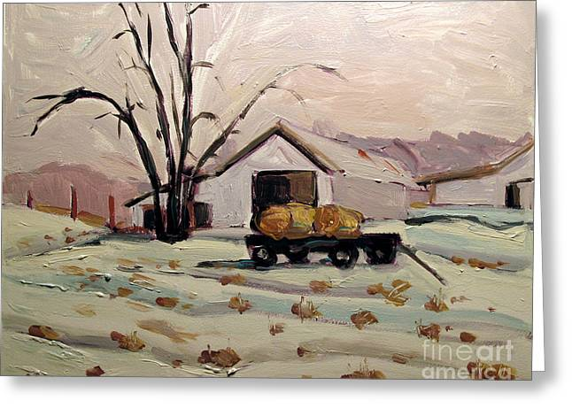 Rural Indiana Greeting Cards - Bale Wagon  Greeting Card by Charlie Spear