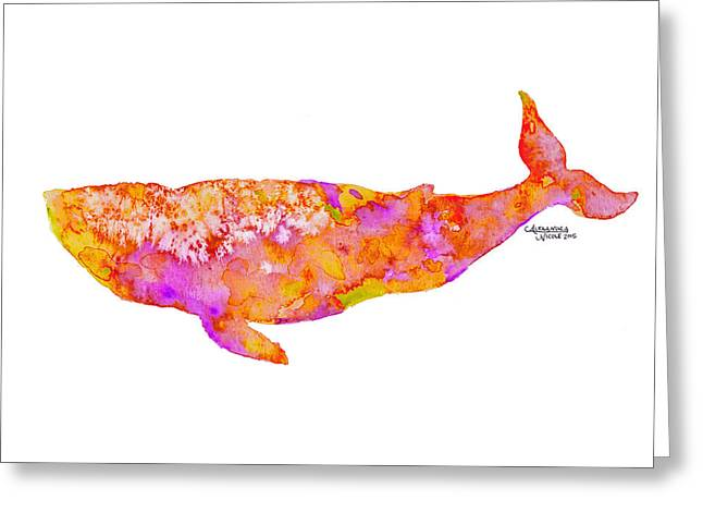 Humpback Whale Paintings Greeting Cards - Baleena - Apricot Greeting Card by Alexandra Nicole Newton