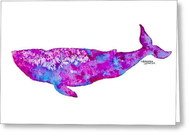 Humpback Whale Paintings Greeting Cards - Baleena - Fuchsia  Greeting Card by Alexandra Nicole Newton