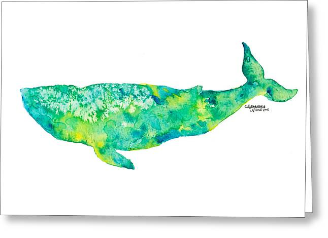 Humpback Whale Paintings Greeting Cards - Baleena- Lime Greeting Card by Alexandra Nicole Newton