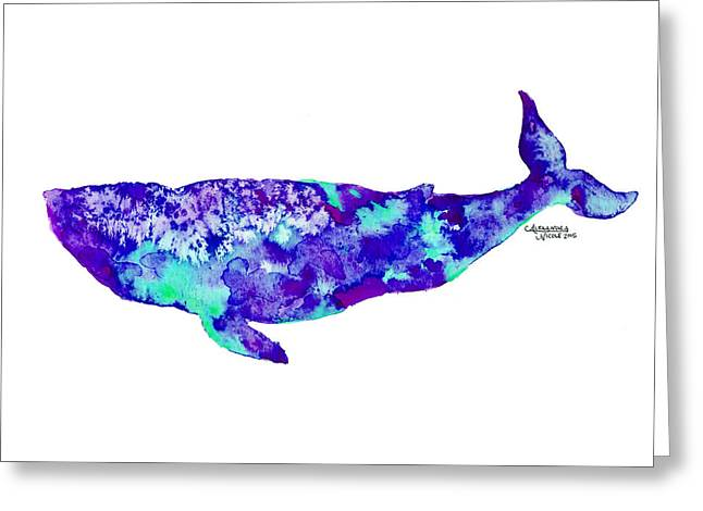 Humpback Whale Paintings Greeting Cards - Baleena- Turquoise Greeting Card by Alexandra Nicole Newton