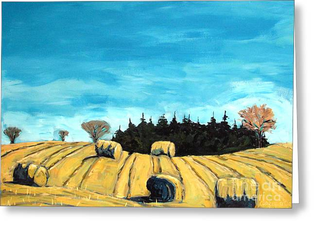 Hay Bales Greeting Cards - Baleful Day Greeting Card by Charlie Spear