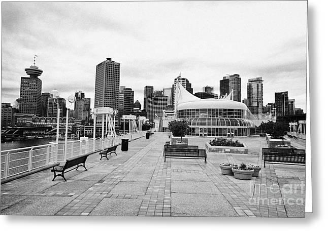 North Vancouver Greeting Cards - balentien pier canada place and Vancouver waterfront skyline BC Canada Greeting Card by Joe Fox