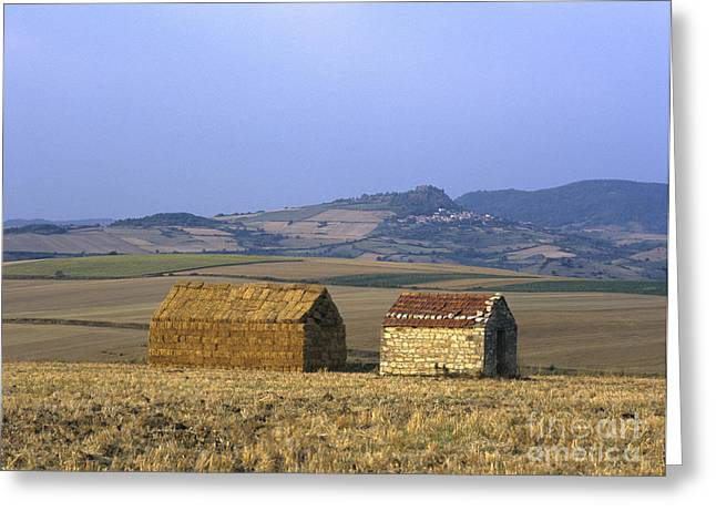 Bales of straw stacked in the shape of a house next to a little stone house. Limagne. Auvergne. Fran Greeting Card by BERNARD JAUBERT