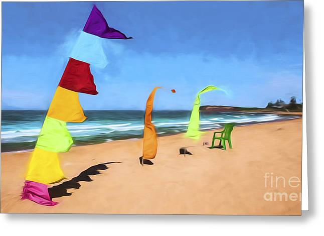 Bali Flags On Collaroy Beach Greeting Card by Avalon Fine Art Photography