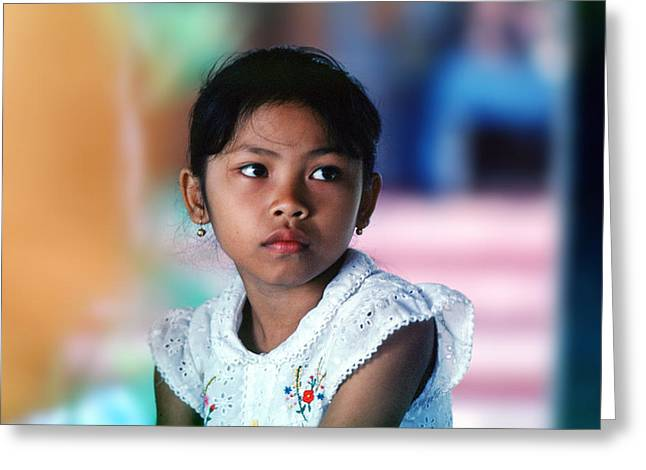 Pensive Greeting Cards - Bali Girl Colors Greeting Card by Wernher Krutein