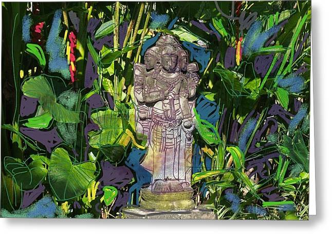 Hindu Goddess Digital Greeting Cards - Bali Hindu statue I Greeting Card by Marte Van Osch