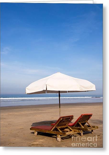 Lounger Greeting Cards - Bali Kuta Beach 02 Greeting Card by Rick Piper Photography