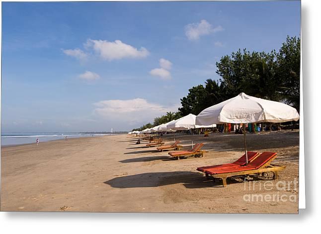 Lounger Greeting Cards - Bali Kuta Beach 03 Greeting Card by Rick Piper Photography