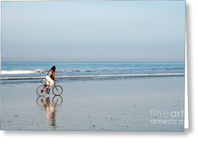 Pushbike Greeting Cards - Bali Kuta Beach Cyclist Greeting Card by Rick Piper Photography