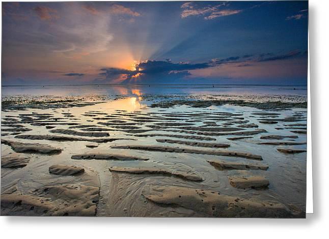 Sun Breaking Through Clouds Greeting Cards - Bali Sunrise Greeting Card by Robert  Aycock