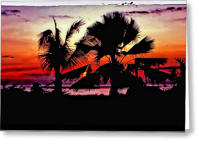Transfer Print Greeting Cards - Bali Sunset polaroid transfer  Greeting Card by Steve Harrington